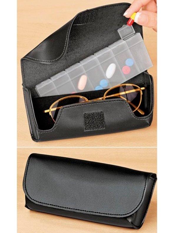 Estuche funda de gafas y pastillero con compartimentos 2 en 1
