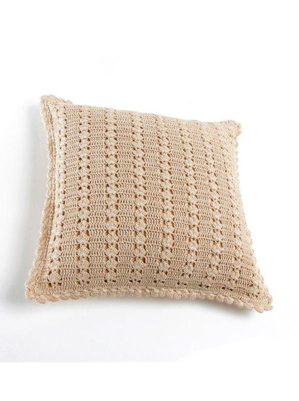 Funda cojín cuadrada crochet con cremallera VENCA HOGAR