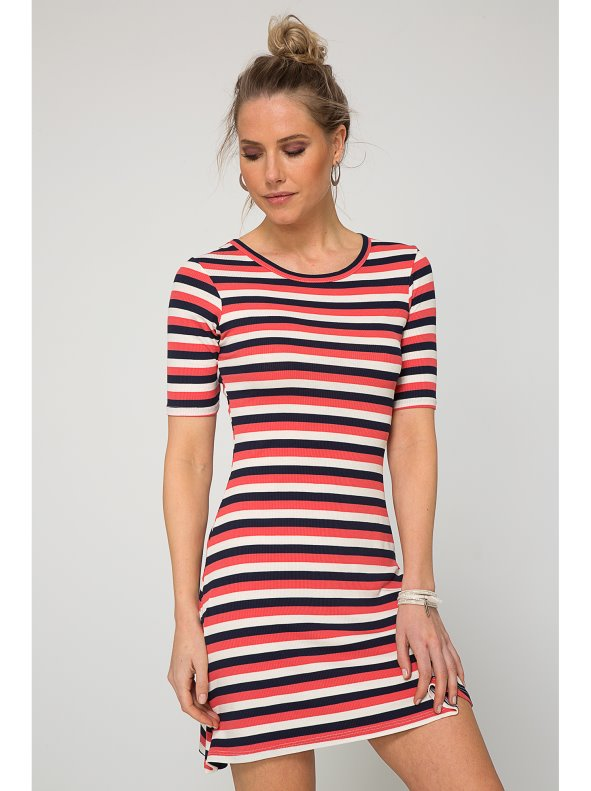 93ed2fd6ebb Women s dress with three-toned stripes in rib knit - Venca - 001359
