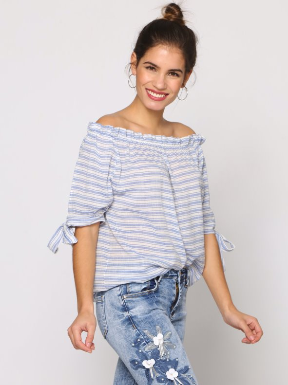 Blusa de mujer manga corta rayas marineras escote barco en lino