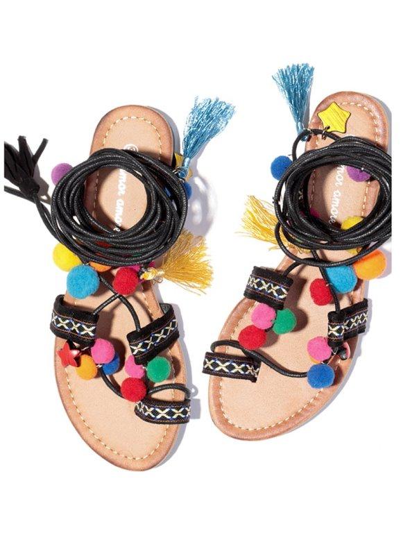 Sandalias planas de dedo mujer con pompones y borlas de colores