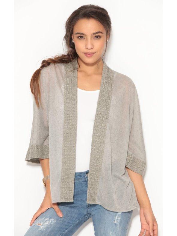 Chaqueta larga corte kimono de lino con puntilla metalizada