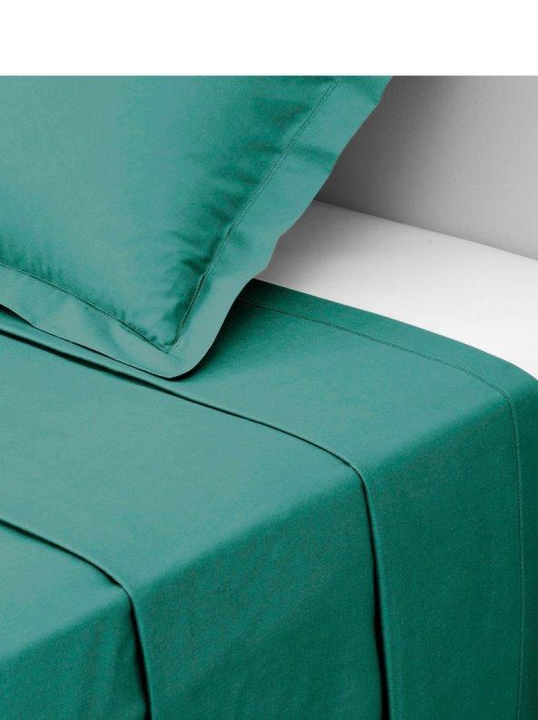 Sábana encimera tejido polialgodón color verde esmeralda TERTIO