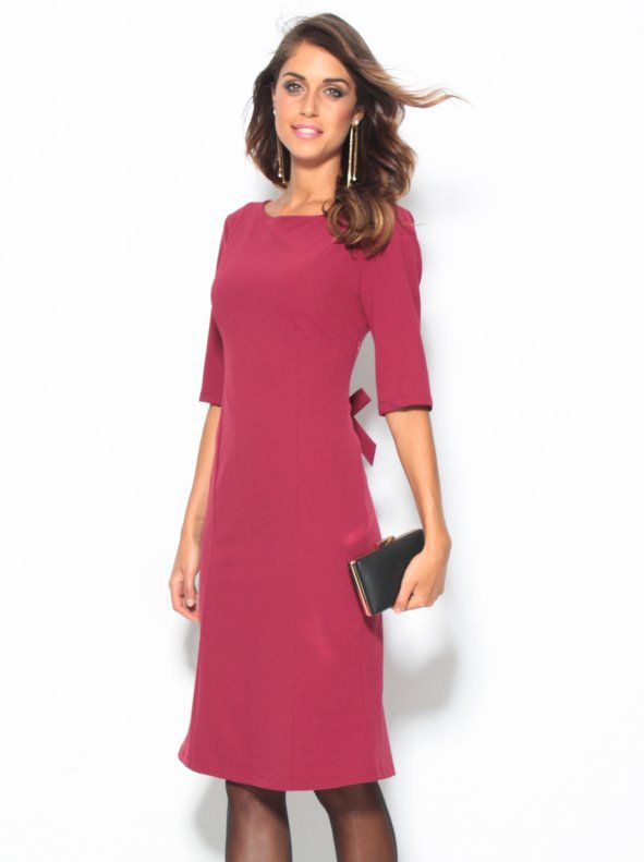 women's party dress with 3/4 sleeves and bow in back