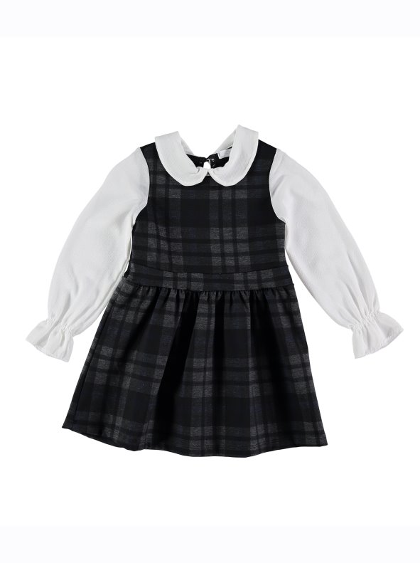Vestido Pichi De Cuadros Con Blusa Para Niña