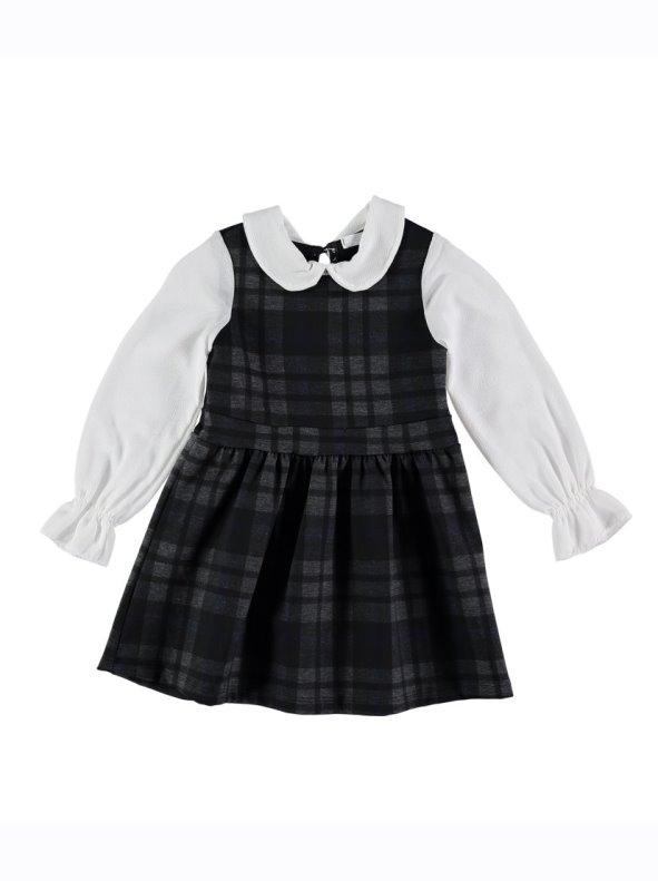 Vestido pichi de cuadros con blusa para niña efecto dos piezas