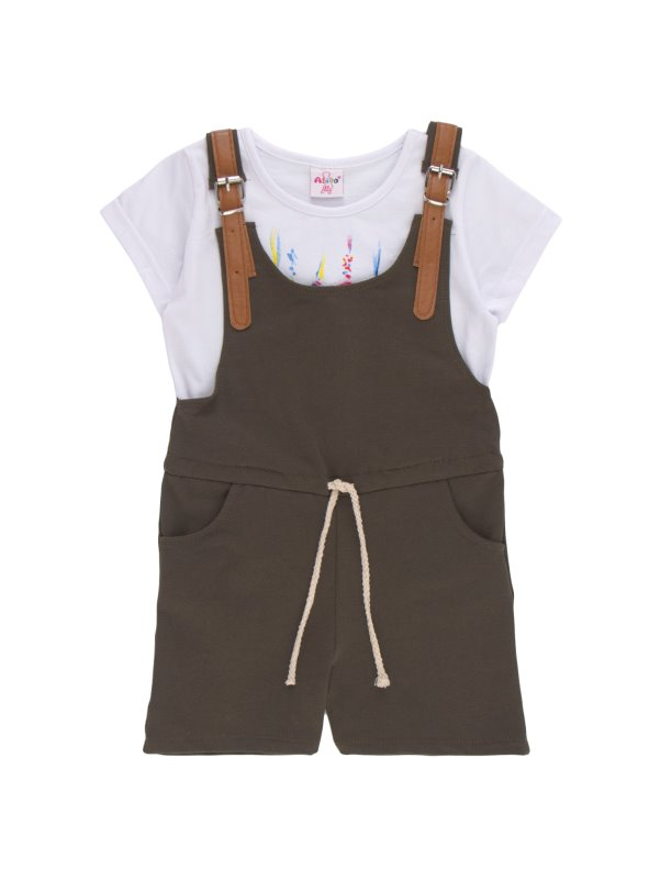 Girl's short sailor overalls with straps in imitation leather