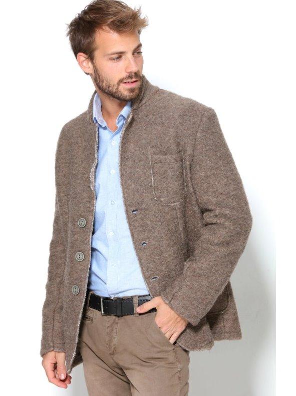 Chaqueta americana de hombre en punto tricot de lana