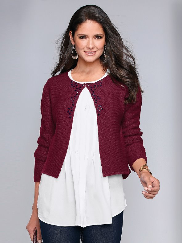 Women's knitted jacket with precious stones applications VENCA