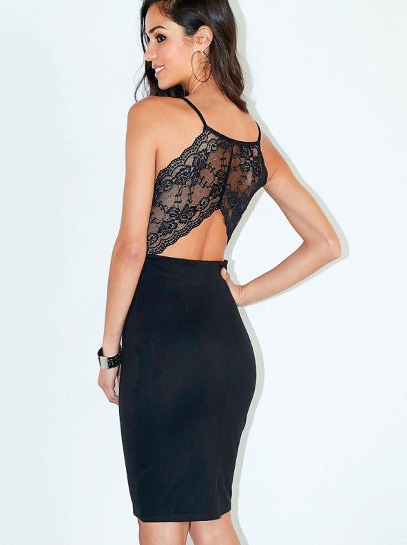 Vestido mujer fiesta punto milano espalda de encaje