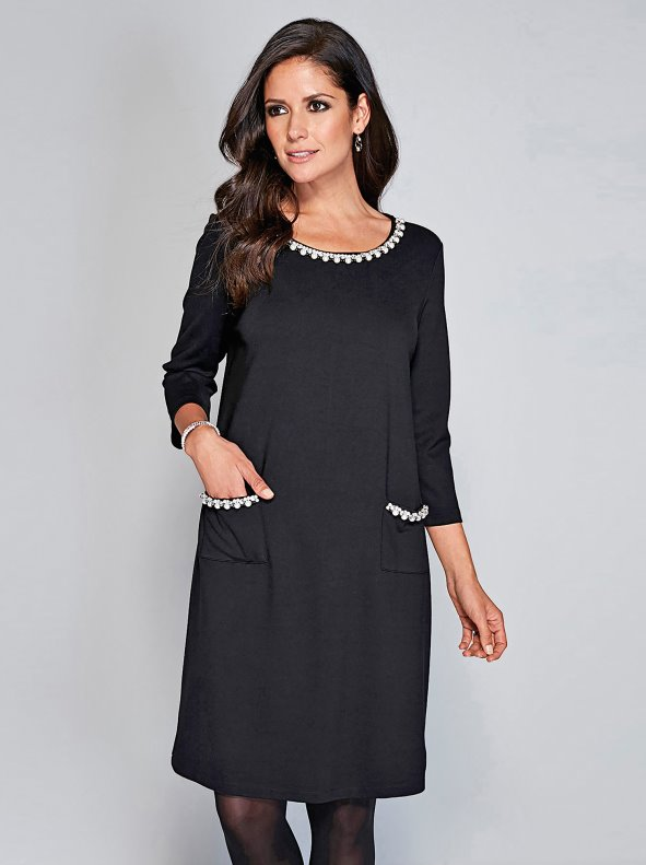 Women's party dress with pearls and strass