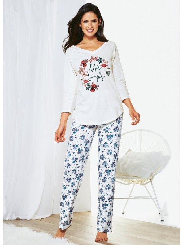Pijama largo mujer de escote V y pantalón de flores estampadas
