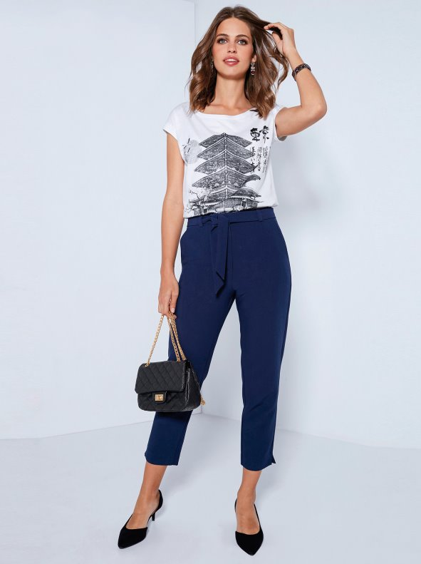 Women's high-waist trousers with pleats and belt of tissue VENCA