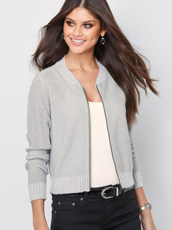d8e473acc880 Chaqueta mujer tricot con hilos metalizados - Venca - 007825