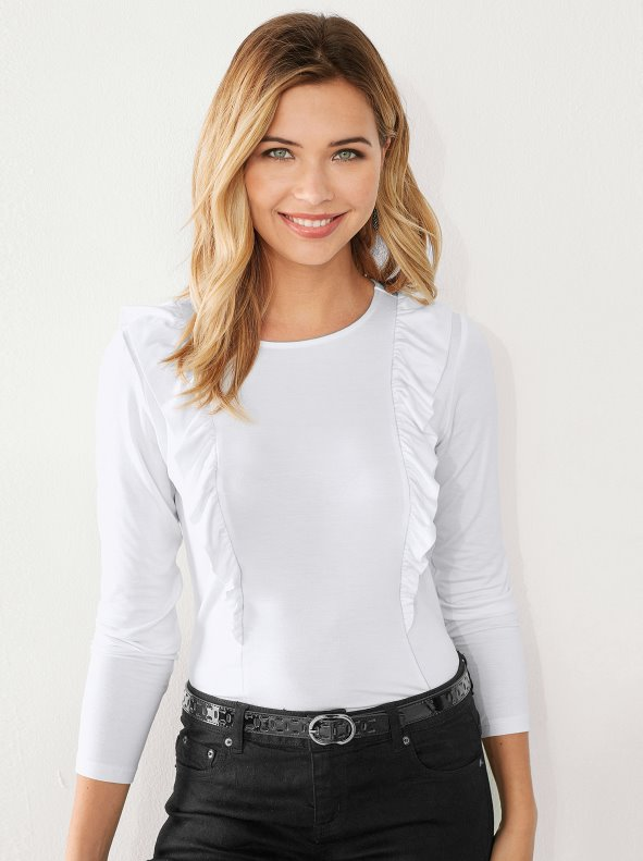7098f73058b5d Camiseta mujer con volantes manga larga - Venca - 007826
