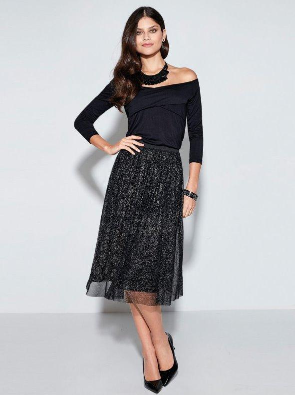 Falda de fiesta mujer de tul elástico metalizado forrada