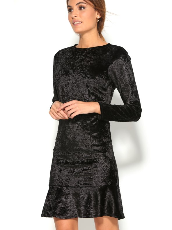 0e5e556191cf7 Vestido corto fiesta manga larga tejido de terciopelo - Venca - 008393