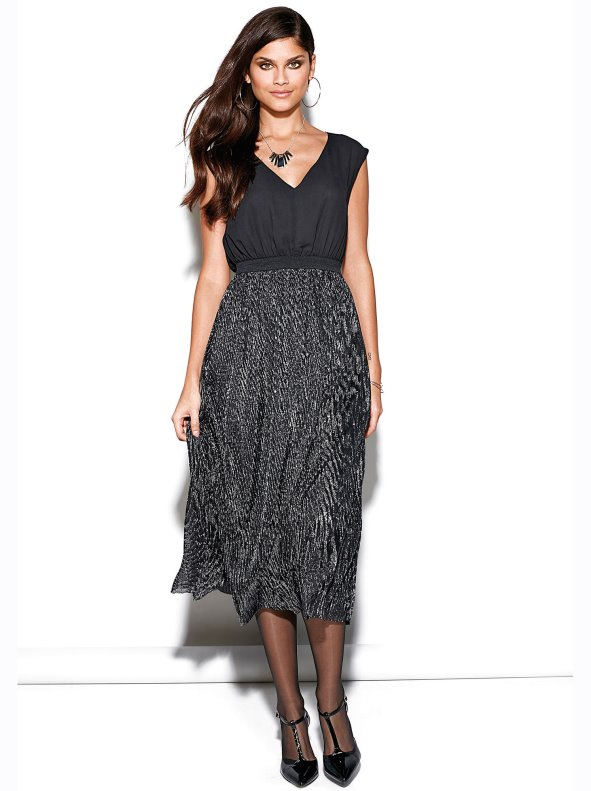 Women's double effect party dress with metallised pleated skirt