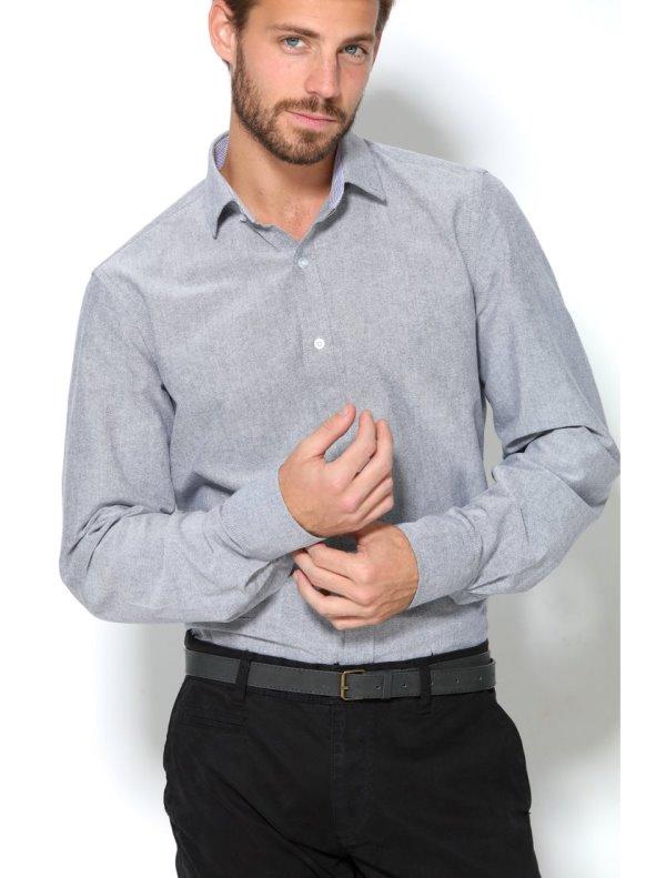 Camisa Vestir Hombre Con Pinzas Traseras Slim Fit