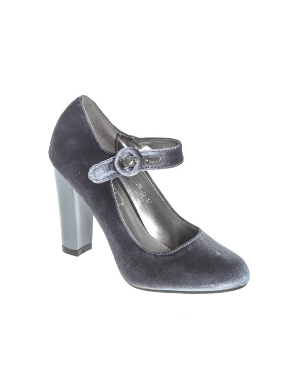 Zapatos de tacón forrados de terciopelo con hebilla