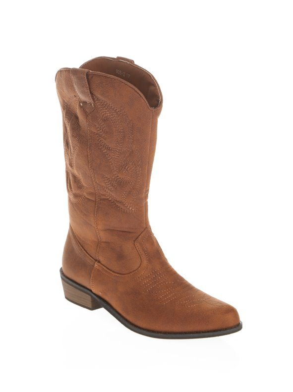 Women's cowboy style boots with heel in faux nubuck