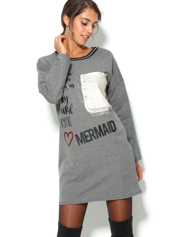 Short dress long sleeve plush with stamped metallic and sequins TREND CAPSULE BY VENCA