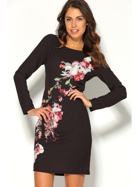 Vestido corto manga larga mujer con estampado floral