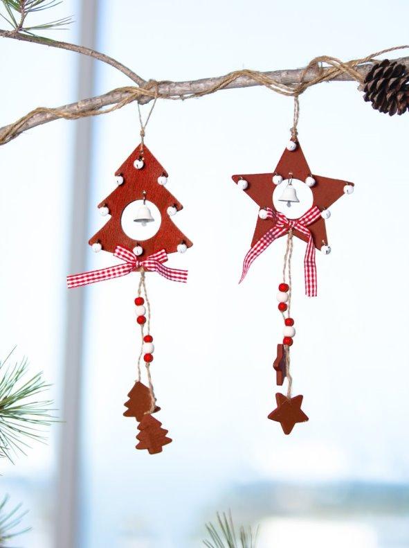 Set de 2 decoraciones navideñas de madera para colgar con cascabeles