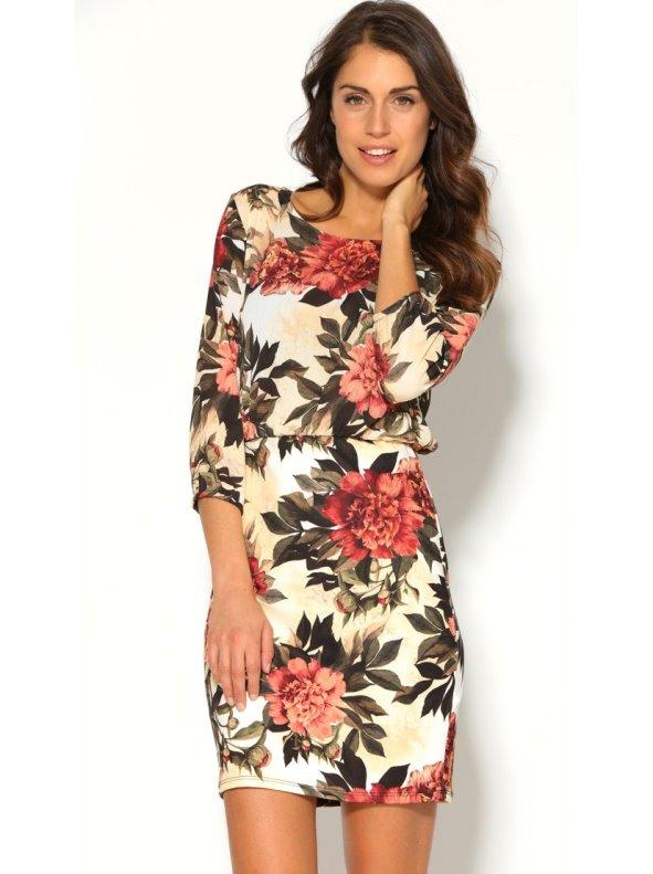 Vestido corto de manga larga mujer con estampado floral
