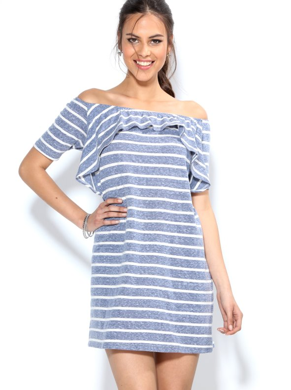 50117ef4f8b Women s sailor-striped dress in elastic knit - Venca - 009393