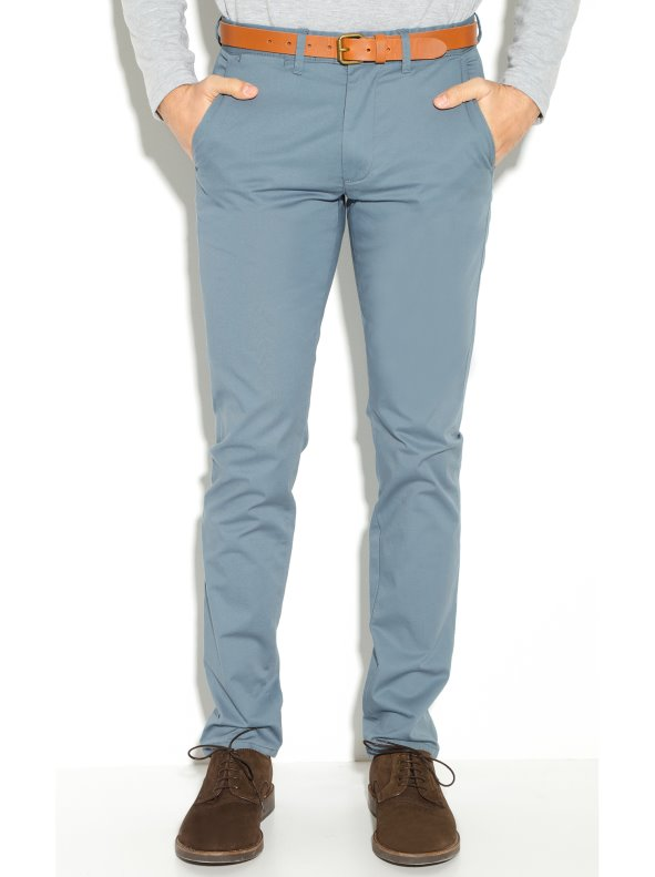 Pantalones chinos slim fit con cinturón largo 32 de hombre SELECTED