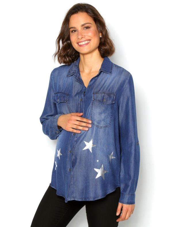 Camisa vaquera manga regulable denim ligero y estrellas plateadas PREMAMA