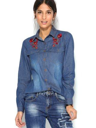 Camisa vaquera manga regulable mujer floral