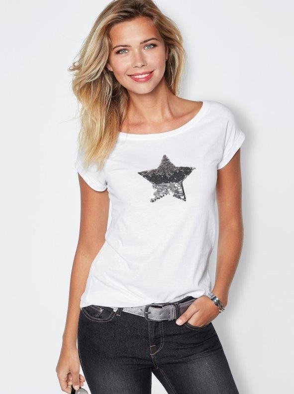 Camiseta con estrella de lentejuelas