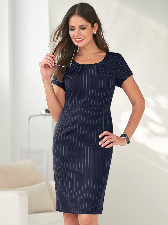 Women's dress with pleats in the rounded neckline and back