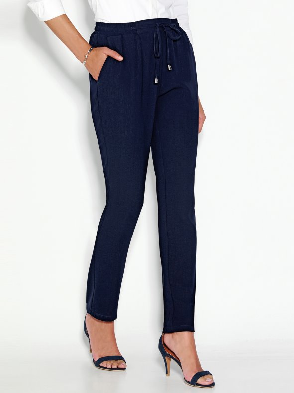 Women's trousers with elasticated waistband and drawstrings
