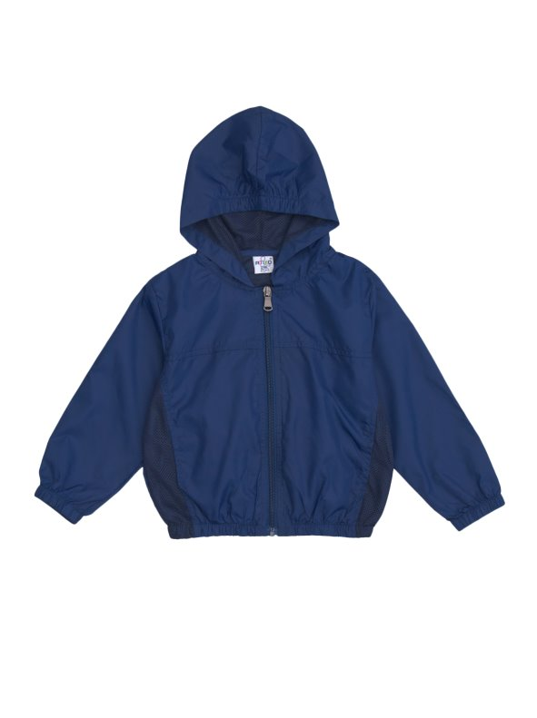 Long-sleeved windbreaker child jacket with hood and pocket backpack