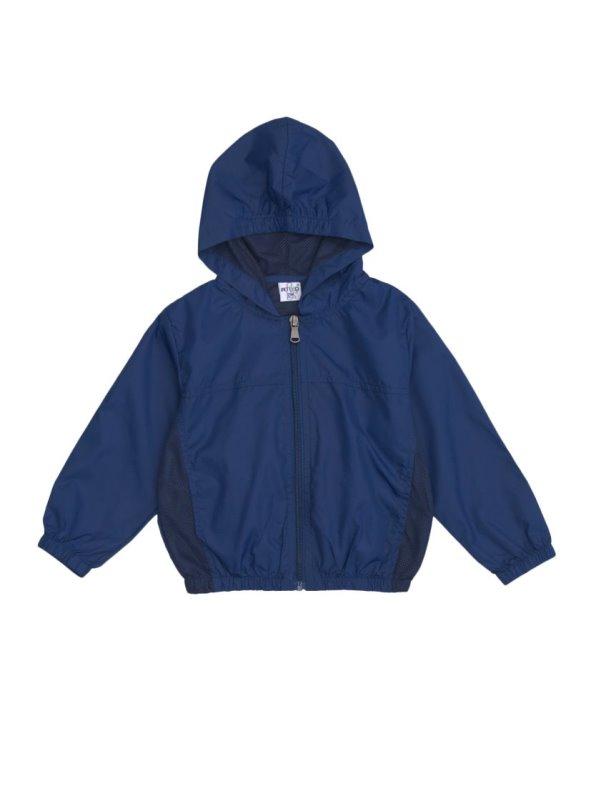 Chaqueta niño cortavientos manga larga con capucha y bolsillo mochila