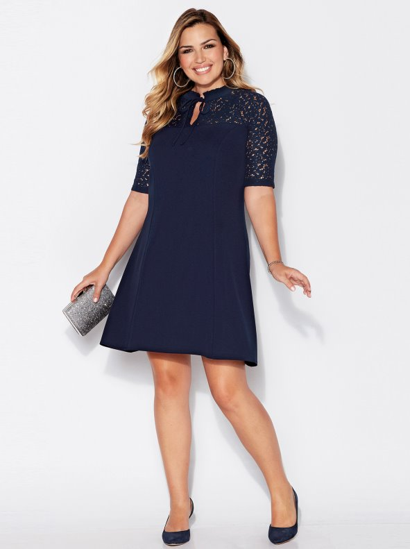 Women's party dress for big sizes with lace details in crepe VENCA