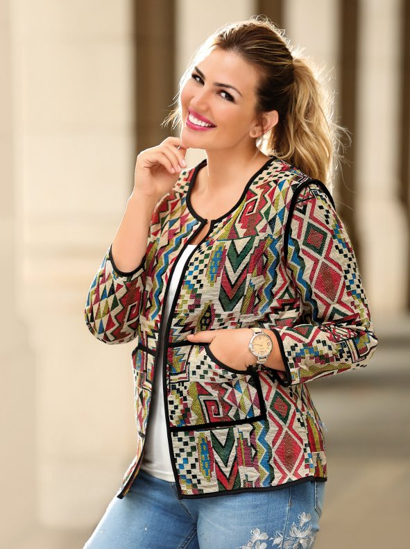 Jacket coarse patterned fabric with contrasting edging
