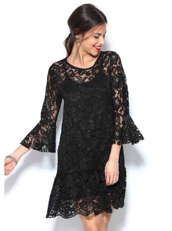Dress with flounces and matching lining