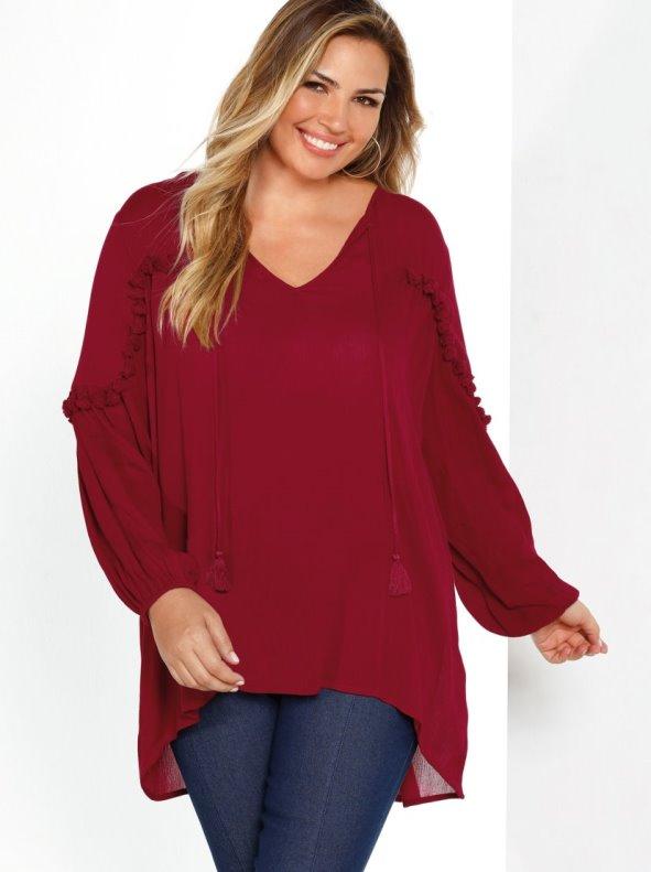 Caftan asymmetrical long blouse for big sizes