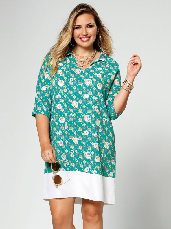 Floral dress with lower contrast band for Plus sizes