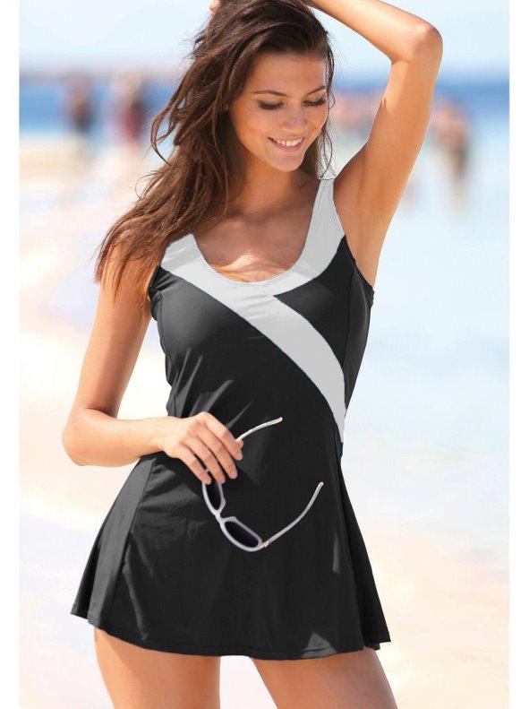 Bicolour swimsuit with V neckline crossed Plus sizes VENCA