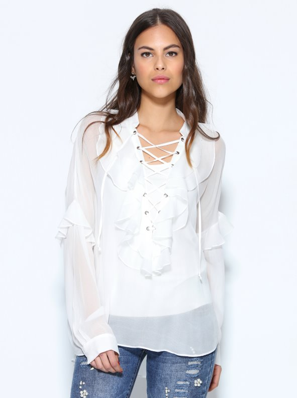 Semi-transparent blouse with ruffles and top