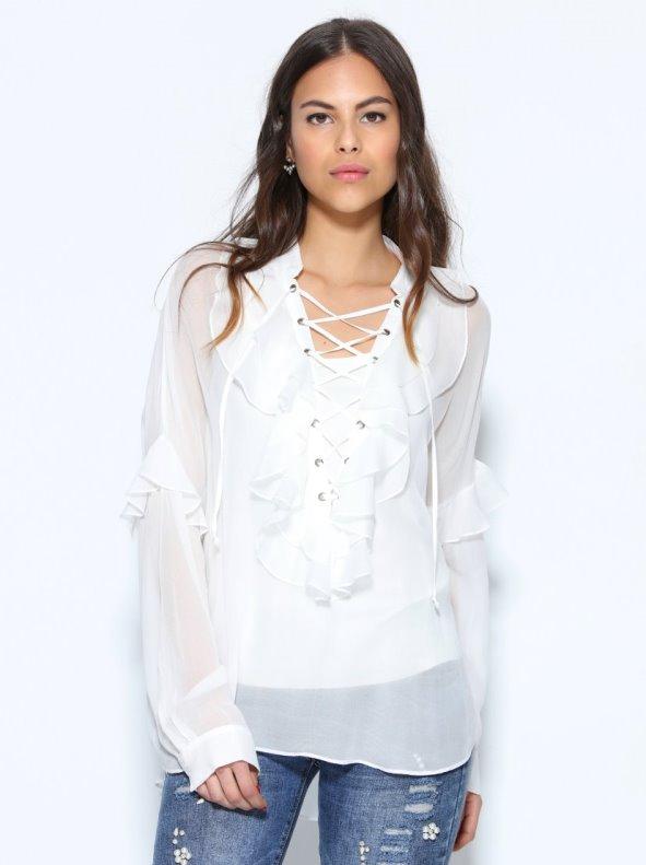 Blusa con chorreras semitransparente top interior TREND CAPSULE BY VENCA