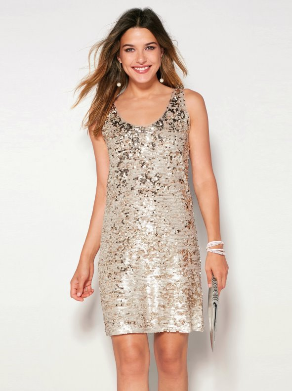 Women's party sleeveless dress with sequins and rounded neckline
