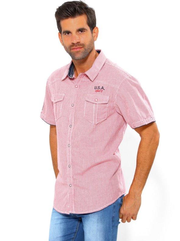 Camisa hombre manga corta con vivos a contraste
