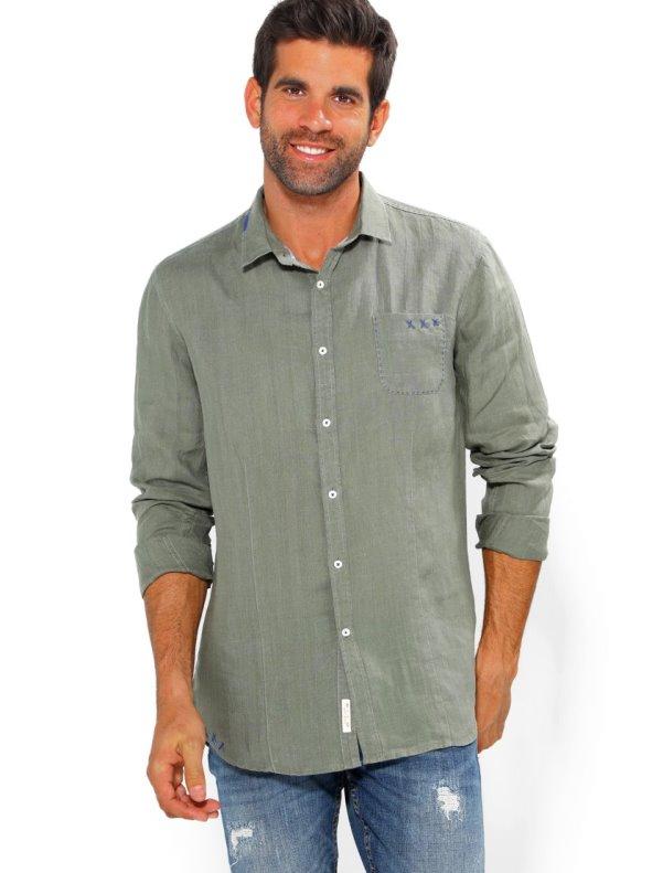Camisa de hombre lino con bolsillo 100% ramio VENCA
