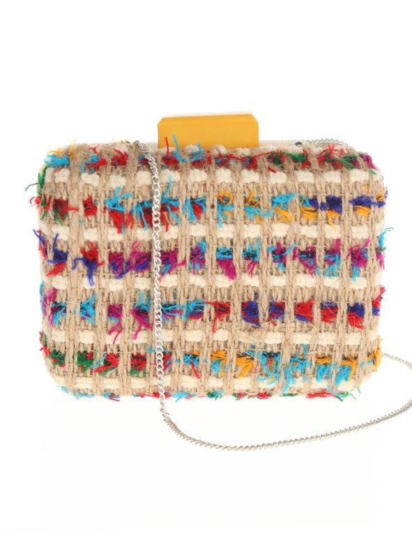 Bolso clutch de terciopelo y lanas multicolores beige/amarillo